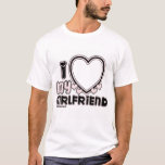 """black i luv 1 T-Shirt<br><div class=""""desc"""">cute and bubbly font that says """" I Love My GIRLFRIEND"""" with a huge heart that allows you to insert your image,  in color black and light pink</div>"""