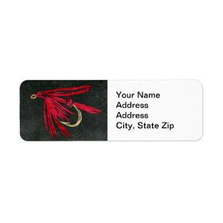 """Black Ibis"" Trout Fly Return Address Label"