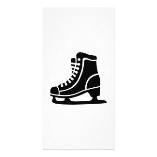 Black ice skate custom photo card