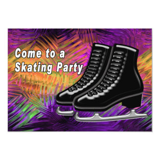 Black Ice Skates with Technicolor Swirled Glass Card