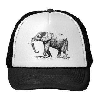 Black Illustration Of An Elephant Mesh Hats
