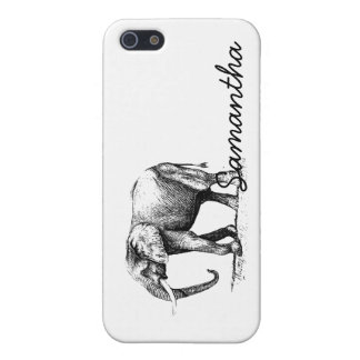 Black Illustration Of An Elephant iPhone SE/5/5s Cover
