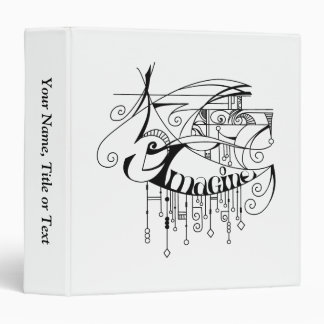 Black Imagine In Lines and Dangles 3 Ring Binder