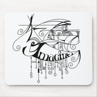 Black Imagine In Lines and Dangles Mouse Pad