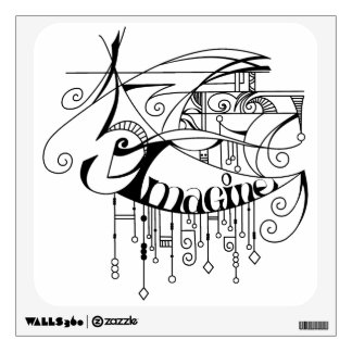 Black Imagine In Lines and Dangles Wall Decal