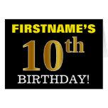 "[ Thumbnail: Black, Imitation Gold ""10th Birthday"" Card ]"
