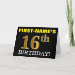 "[ Thumbnail: Black, Imitation Gold ""16th Birthday"" Card ]"