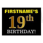 "[ Thumbnail: Black, Imitation Gold ""19th Birthday"" Card ]"