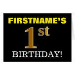 "[ Thumbnail: Black, Imitation Gold ""1st Birthday"" Card ]"