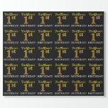 "[ Thumbnail: Black, Imitation Gold ""1st Birthday"" Wrapping Paper ]"