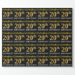 "[ Thumbnail: Black, Imitation Gold ""20th Birthday"" Wrapping Paper ]"