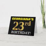 "[ Thumbnail: Black, Imitation Gold ""23rd Birthday"" Card ]"