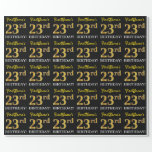 "[ Thumbnail: Black, Imitation Gold ""23rd Birthday"" Wrapping Paper ]"