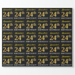"[ Thumbnail: Black, Imitation Gold ""24th Birthday"" Wrapping Paper ]"