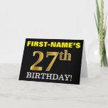 "[ Thumbnail: Black, Imitation Gold ""27th Birthday"" Card ]"