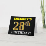 "[ Thumbnail: Black, Imitation Gold ""28th Birthday"" Card ]"