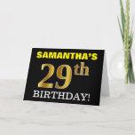 "[ Thumbnail: Black, Imitation Gold ""29th Birthday"" Card ]"