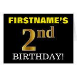 "[ Thumbnail: Black, Imitation Gold ""2nd Birthday"" Card ]"