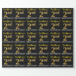 "[ Thumbnail: Black, Imitation Gold ""2nd Birthday"" Wrapping Paper ]"