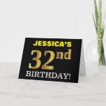 "[ Thumbnail: Black, Imitation Gold ""32nd Birthday"" Card ]"