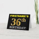 "[ Thumbnail: Black, Imitation Gold ""36th Birthday"" Card ]"