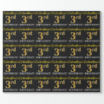 "[ Thumbnail: Black, Imitation Gold ""3rd Birthday"" Wrapping Paper ]"