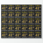 "[ Thumbnail: Black, Imitation Gold ""41st Birthday"" Wrapping Paper ]"