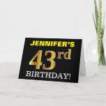 "[ Thumbnail: Black, Imitation Gold ""43rd Birthday"" Card ]"