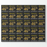 "[ Thumbnail: Black, Imitation Gold ""46th Birthday"" Wrapping Paper ]"