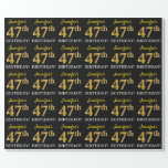 "[ Thumbnail: Black, Imitation Gold ""47th Birthday"" Wrapping Paper ]"