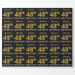 "[ Thumbnail: Black, Imitation Gold ""48th Birthday"" Wrapping Paper ]"