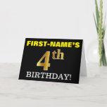 "[ Thumbnail: Black, Imitation Gold ""4th Birthday"" Card ]"