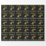 "[ Thumbnail: Black, Imitation Gold ""4th Birthday"" Wrapping Paper ]"