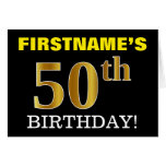 "[ Thumbnail: Black, Imitation Gold ""50th Birthday"" Card ]"