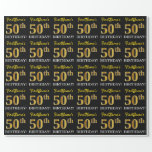 "[ Thumbnail: Black, Imitation Gold ""50th Birthday"" Wrapping Paper ]"