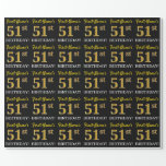"[ Thumbnail: Black, Imitation Gold ""51st Birthday"" Wrapping Paper ]"