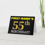 "[ Thumbnail: Black, Imitation Gold ""55th Birthday"" Card ]"