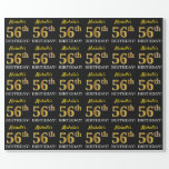 "[ Thumbnail: Black, Imitation Gold ""56th Birthday"" Wrapping Paper ]"
