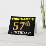"[ Thumbnail: Black, Imitation Gold ""57th Birthday"" Card ]"