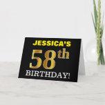 "[ Thumbnail: Black, Imitation Gold ""58th Birthday"" Card ]"