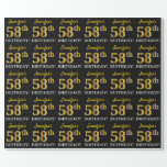 "[ Thumbnail: Black, Imitation Gold ""58th Birthday"" Wrapping Paper ]"