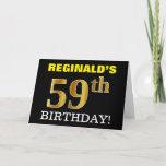 "[ Thumbnail: Black, Imitation Gold ""59th Birthday"" Card ]"