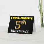 "[ Thumbnail: Black, Imitation Gold ""5th Birthday"" Card ]"