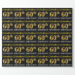 "[ Thumbnail: Black, Imitation Gold ""60th Birthday"" Wrapping Paper ]"