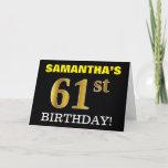 "[ Thumbnail: Black, Imitation Gold ""61st Birthday"" Card ]"