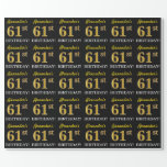 "[ Thumbnail: Black, Imitation Gold ""61st Birthday"" Wrapping Paper ]"