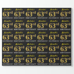 "[ Thumbnail: Black, Imitation Gold ""63rd Birthday"" Wrapping Paper ]"