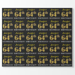 "[ Thumbnail: Black, Imitation Gold ""64th Birthday"" Wrapping Paper ]"