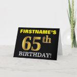 "[ Thumbnail: Black, Imitation Gold ""65th Birthday"" Card ]"