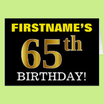 "Black, Imitation Gold ""65th BIRTHDAY"" Card"
